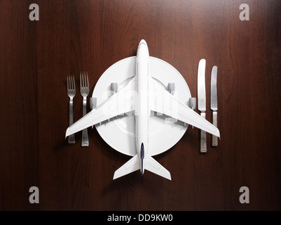 Place setting with airplane - Stock Photo