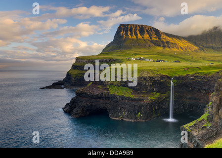 Gásadalur, on the west-side of Vágar in the Faroe Islands, with views over Mykines - Stock Photo
