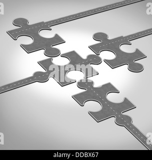 Connection direction as a business concept of a group of roads or highways shaped as jigsaw puzzle pieces connecting - Stock Photo