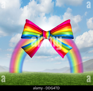 Gift of fortune and gifts from heaven concept with a colorful rainbow shaped as a fun and happy holiday ribbon and - Stock Photo
