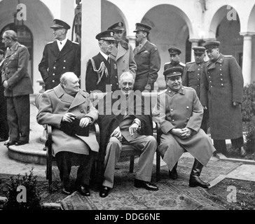 YALTA CONFERENCE  February 1945. Seated from l: Winston Churchill, Franklin D. Roosevelt, Joseph Stalin. See Description - Stock Photo