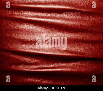 Soft wrinkled red leather texture background. - Stock Photo