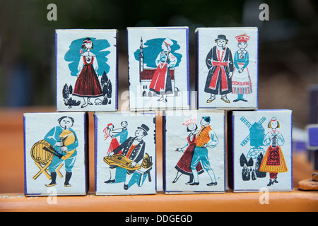 Old vintage matchboxes from Soviet Union with design motives about Estonia (artist unknown) - Stock Photo
