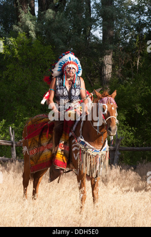 north american indian chief on horse stock photo royalty