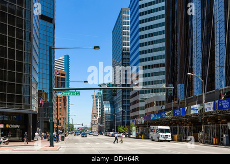 Office buildings on Broadway in downtown Denver, Colorado, USA - Stock Photo