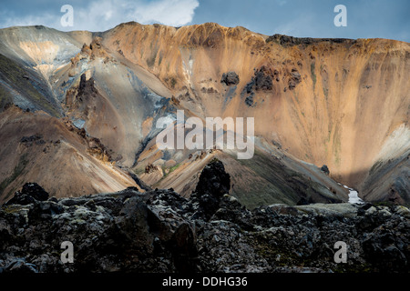 Rhyolite mountains at the Námshraun lava field, Landmannalaugar area, Fjallabak Nature Reserve, Highlands of Iceland - Stock Photo