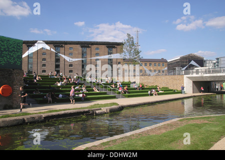 Regent's Canal and Granary Square Kings Cross London summer 2013 - Stock Photo