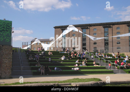 Granary Square by Regent's Canal Kings Cross London summer 2013 - Stock Photo
