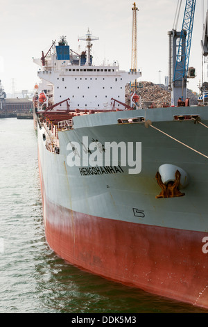 Chinese cargo ship 'Hengshanhai'. Bulk carrier discharging cargo Southampton Docks UK - Stock Photo