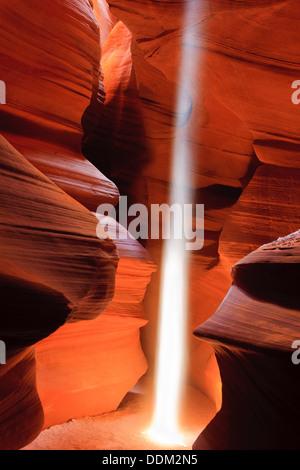 Lightbeams in Upper Antelope Canyon, Page, Arizona - Stock Photo