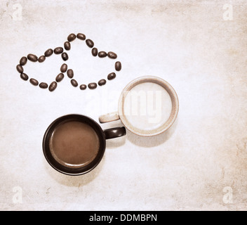 artwork in grunge style, two cups of coffee and heart symbols of coffee beans - Stock Photo
