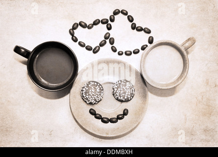 artwork in grunge style, two cups of coffee, heart shapes of coffee beans and smile made of coffee beans and cookies - Stock Photo