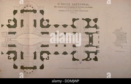 Plan der Bestuhlung für den Herzog von Wellington Beerdigung, 1852. Künstler: Anon - Stockfoto