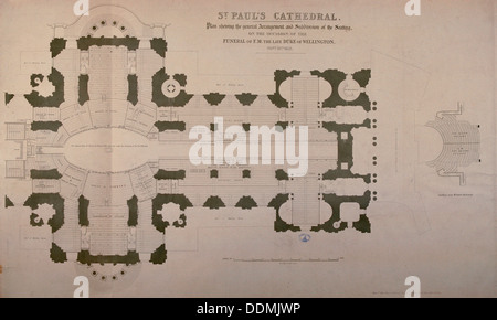 Plan of seating arrangements for the Duke of Wellington's funeral, 1852. Artist: Anon - Stock Photo