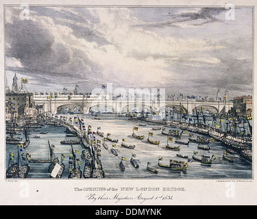 London Bridge (new), London, 1831. Artist: Charles Etienne Pierre Motte - Stock Photo