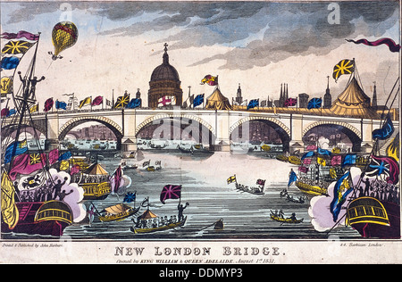 London Bridge (new), London, 1831. Artist: Anon - Stock Photo