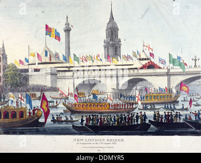 London Bridge (new), London, 1831. Artist: Henry Matthews - Stock Photo