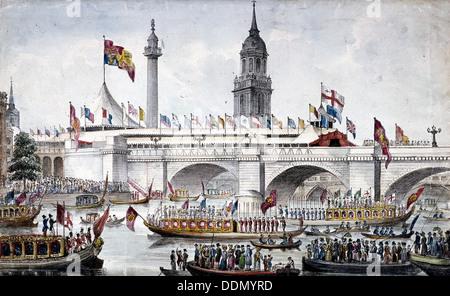 London Bridge (new), London, 1831. Artist: Anon - Stock Photo