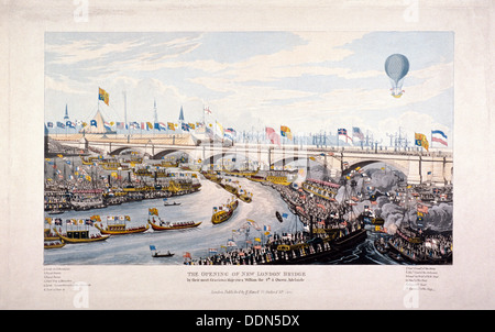 Opening of London Bridge (New), London, 1831. Artist: Anon - Stock Photo