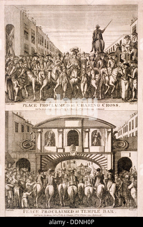 Proclamation of peace of the American War of Indepence, London, 1763. Artist: James Basire I - Stock Photo