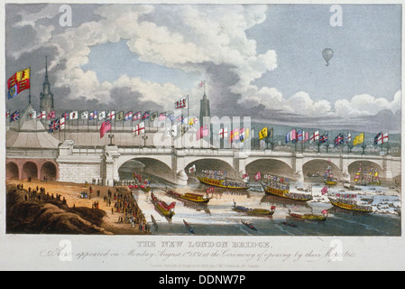 Opening ceremony of the new London Bridge, 1831. Artist: Anon - Stock Photo