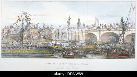Opening ceremony of the new London Bridge, 1831. Artist: Englemann, Graf and Co - Stock Photo