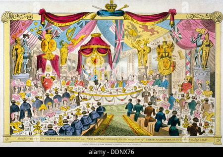Royal opening of London Bridge, 1831. Artist: Anon - Stock Photo