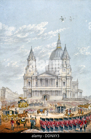 Funeral of the Duke of Wellington, St Paul's Cathedral, City of London, 18 November, 1852. Artist: Anon - Stock Photo