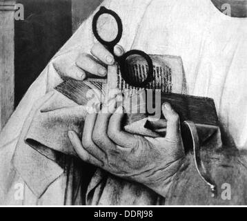 medicine ophthalmology glasses in the hands of the canon van der Paele painting by Jan van Eyck (circa 1390 - 1441) - Stock Photo