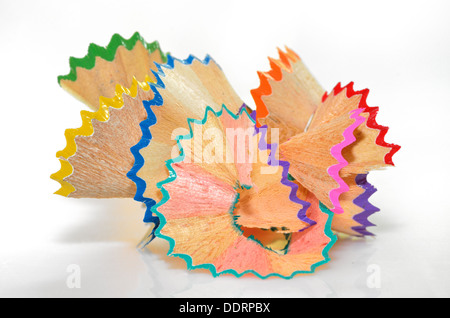 crayon shavings - back to school creative objects - Stock Photo
