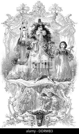 literature fairy tales 'Donkeyskin' (Peau d'ane) by Charles Perrault (1628 - 1703) king and infanta deputation wood - Stock Photo