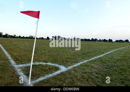 Amateur football game corner flag. Bristol Downs league England UK - Stock Photo