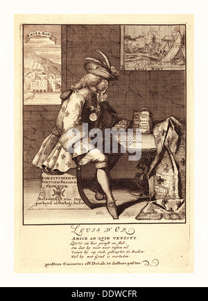 Louis d'Or, [1705], 1 print : etching., Print shows Louis XIV sitting at a table, resting on his left elbow - Stockfoto