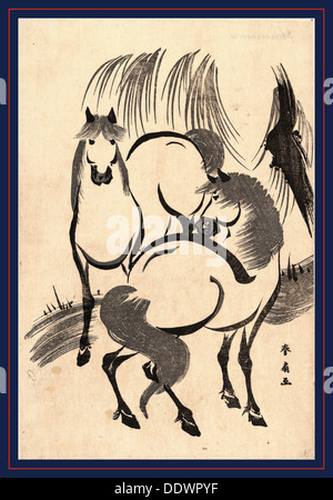 Ryuka no uma, Horses under a willow tree. [between 1804 and 1818], 1 print : woodcut ; 34.5 x 23.2 cm., Print shows - Stock Photo
