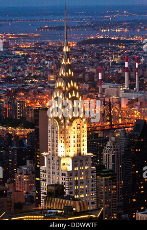 Aerial panoramic view over upper Manhattan from Empire State building by night - Stock Photo