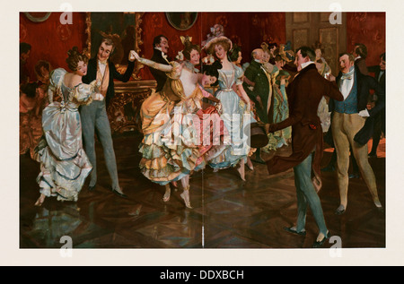 Dance painting by Leopold Schmutzler 1864-1941, bohemian painter, lived in Germany. dancing, dancer, young, motion, - Stock Photo