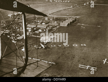 Aerial view of London Airport, 1925. - Stock Photo