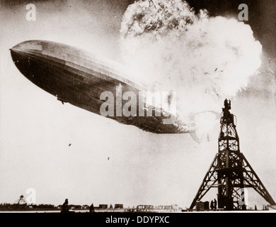 The German airship 'Hindenburg' blows up, Lakehurst, New Jersey, USA, 6 May 1937. - Stock Photo