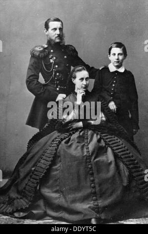 Grand Duke Konstantin Nikolayevich of Russia with his wife and one of their sons, 1860. - Stock Photo