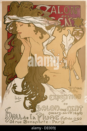 Poster for the XXth Exposition in the Salon des Cent, Paris, France, 1896.  Artist: Alphonse Mucha - Stock Photo