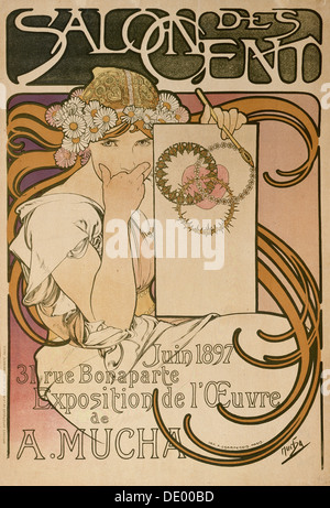 Poster for Alphonse Mucha's exhibition in the Salon des Cent, Paris, France, 1897. Artist: Alphonse Mucha - Stock Photo