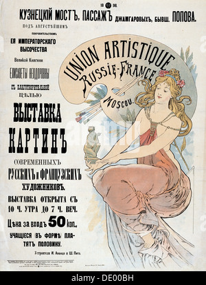 Poster for the Exibition of Russian and French artists, 1898.  Artist: Alphonse Mucha - Stock Photo