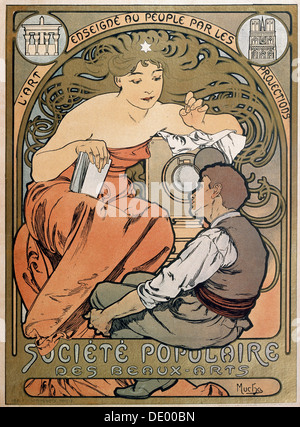 Poster for the Societe Populaire des Beaux Arts, 1897.  Artist: Alphonse Mucha - Stock Photo