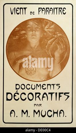 Advertisement for the monograph Decorative Documents by Alphonse Mucha, 1902. Artist: Alphonse Mucha - Stock Photo