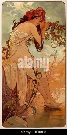 'Summer', 1896.  Artist: Alphonse Mucha - Stock Photo