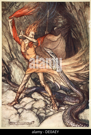 'Ohe! Ohe! Horrible dragon, O swallow me not! Spare the life of poor Loge!', 1910.  Artist: Arthur Rackham - Stock Photo