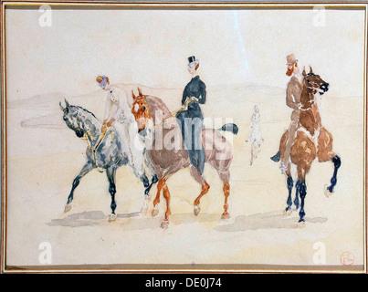 'Riders', 1880s.  Artist: Henri de Toulouse-Lautrec - Stock Photo