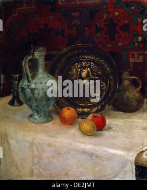'Still Life with a Brass Plate', late 19th or early 20th century. Artist: Paula Modersohn-Becker - Stock Photo