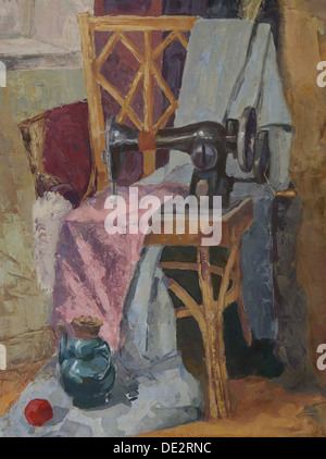 Still life with Antique Sewing Machine. Painting. Gouache on Paper - Stockfoto
