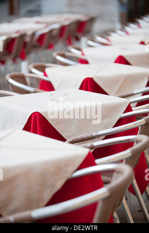 Tables of a café in Campo San Stefano, Venice, Venezien, Italy - Stock Photo